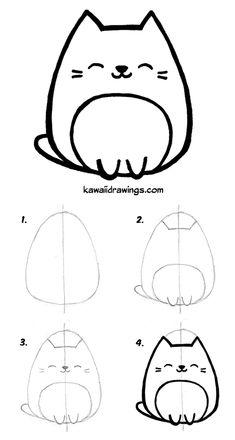 to draw kawaii cat in 4 easy steps. Kawaii drawing tutorial, step by step. How to draw kawaii cat in 4 easy steps. Kawaii drawing tutorial step by step.How to draw kawaii cat in 4 easy steps. Kawaii drawing tutorial step by step. Gato Doodle, Doodle Art, Doodle Drawings, Pencil Drawings, Simple Cat Drawing, Cute Easy Drawings, Cute Kawaii Drawings, Drawing Ideas, Drawing Drawing