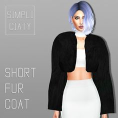 Simpliciaty: Short fur jacket • Sims 4 Downloads