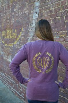 Open Framed Leaf Comfort Color Pocket Tees - Long Sleeve - Sorority Gift - Bridesmaid Gift (22.99 USD) by embellishboutiquellc