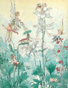 "Art by Harold Gaze (c 1919) - ""Fairies Flowers."""