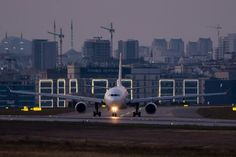A MEA A330 taxiing at Istanbul Ataturk in the last light of the day