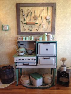 Great way to display antique utensils as a collection.