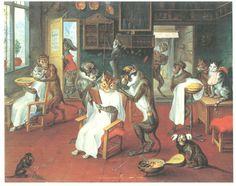 猿の床屋に猫の客