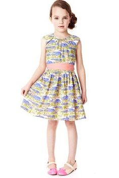 Autograph Pure Cotton Scenery Print Dress with Belt - Marks & Spencer
