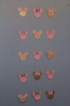 Bandera de Minnie rosa y oro 10 hebras