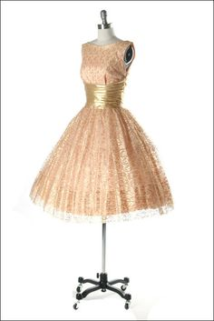Vintage 1950s Dress  Gold Lace w/White Tulle