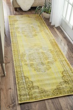 NuLOOM Machine Made Vintage Inspired Overdyed Rug Rug Funky Yellow