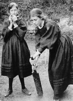 Sisters Virginia and Vanessa Stephens (Virginia Woolf and Vanessa Bell) playing cricket at their family's summer home,1893