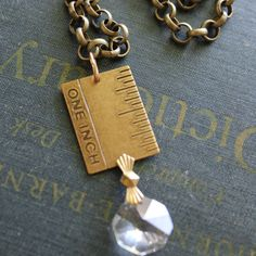 One Inch Ruler Charm Necklace With Vintage by outoftheblue on Etsy, $24.00