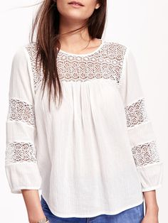 Old Navy Lace-Sleeve Gauze Boho Blouse for Women Navy Lace, White Lace, I Dress, Lace Dress, Cool Style, My Style, Maternity Wear, Lace Sleeves, Navy And White