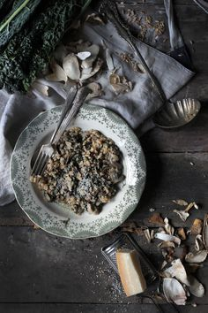 Farrotto: a Risotto made out of Spelt Farro, with Tuscan Kale and Mushrooms hortuscuisine.com