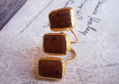Handmade gold plated ring with triple agate with brown agates by GardenOfLinda on Etsy