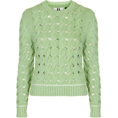 Ixworth Crew Jumper by Unique ($140) ❤ liked on Polyvore featuring tops, sweaters, mint, mint sweater, graphic sweaters, green cable knit sweater, crewneck sweater and chunky cable knit sweater
