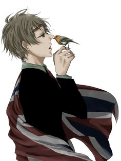 Arthur with his flag and national bird: an English robin - Art by 社