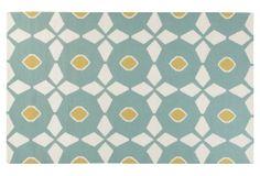 One Kings Lane - Blue, White & Yellow - Eros Flat-Weave Rug, Slate Gray/Multi
