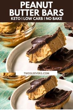 Bars will satisfy all of your dessert cravings. Low Carb, low sugar, high fat Peanut Butter Bars make a perfectly delicious keto dessert or fat bomb. Low Carb Peanut Butter Chocolate Bars | Low Carb Peanut Butter Bars | Keto Peanut Butter Chocolate Bars | Peanut Butter Chocolate Bars | Peanut Butter Bars | Keto Dessert Recipes | Low Carb Dessert Recipes | Peanut Butter Dessert Recipes | TwoSleevers | #twosleevers #peanutbutter #chocolate #lowcarbdessert #ketodessert Homemade Desserts, Low Carb Desserts, Low Carb Recipes, Baking Recipes, Diet Recipes, Healthy Recipes, Peanut Butter Dessert Recipes, Peanut Butter Chocolate Bars, Low Carb Peanut Butter