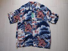 SUN SURF Hawaiian Shirts Rayon Blue sz L aloha Toyo Enterprise Japan New F/S