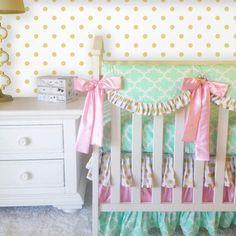 Ritzy Baby Designs, LLC - Glitz Gold Dot, Mint Fulton, and Baby Pink Bumperless Crib Bedding, $166.00 (http://ritzybaby.com/glitz-gold-dot-mint-fulton-and-baby-pink-bumperless-crib-bedding/)