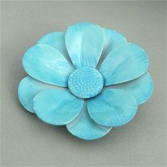 Vintage Enamel Flower Brooch LARGE Sky Blue 1960s Enamel Daisy Brooch FLOWER POWER Hippie Chic by malibloom, $15.00