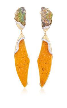 Petra One of a Kind Peach Drusy Earrings by Kara Ross for Preorder on Moda Operandi