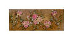 Floral wreath Aubusson  Original oil  painting by Helen Flont