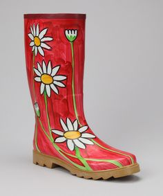 Corky's Footwear Red Daisy Elite Painted Rain Boot