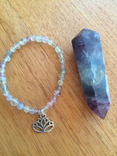 Fluorite bracelet with fluorite point by wellbeingbliss on Etsy