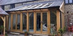 timber frame lean to extensions Curved Pergola, Pergola Attached To House, Pergola Ideas, Carport Ideas, Gazebo, House Extension Design, Glass Extension, Rear Extension, Gardens