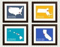 Personalized Story Maps with Hearts: engagement, wedding, honeymoon, anniversary, shower, birth, adoption.