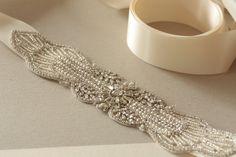 Wedding dress belt in ivory - Art Deco v4. $175.00, via Etsy.