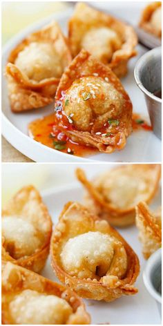 Fried wontons – Homemade, crispy and delicious wontons with simple everyday ingredients. Learn how to make these delicious Chinese dumpling. Wonton Recipes, Appetizer Recipes, Chicken Recipes, Easy Chinese Recipes, Asian Recipes, How To Make Wontons, Asian Appetizers, Wonton Appetizers, Shrimp Wonton