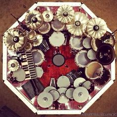 Neil Peart's drum set from above… I love the idea of the creativity that comes from this picture