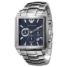 92d5627651e Relógio Emporio Armani Men s Silver Stainless-Steel Quartz Watch with Blue  Dial