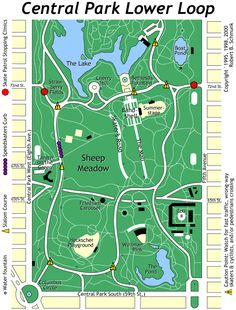 Where to skate Map of Central Park Lower Loop. I just like to walk myself. The most photogenic walk is from the Bethesda Fountain down The Mall.