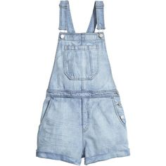 H&M Denim bib shorts (100 PLN) ❤ liked on Polyvore featuring shorts, bottoms, overalls, playsuits, dresses, light denim blue, denim shorts, bib overalls shorts, blue bib overalls and blue shorts