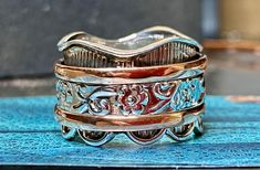 Silver and Copper Spinner Ring / Anxiety Relief Jewelry by JoyLaRoseJewelry on Etsy