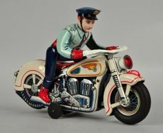 Modern Toys Japanese Tin Litho Battery Op Police Motorcycle