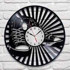 Converse design vinyl record wall clock home art playroom bedroom shop office