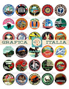 Travel Luggage Labels, 1.5 inch Circle, Vintage Suitcase Stickers, Retro Printable Digital Collage Sheet, Instant Download Ephemera Clipart