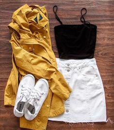 buy white skirt white vans yellow anorak jacket Source by paisleydreamz skirt outfit Teenage Outfits, Teen Fashion Outfits, Mode Outfits, Cute Fashion, Look Fashion, Outfits For Teens, Spring Fashion, Denim Fashion, Fashion Shorts