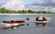 Kayaking in Rangaroa, close to Tahiti.