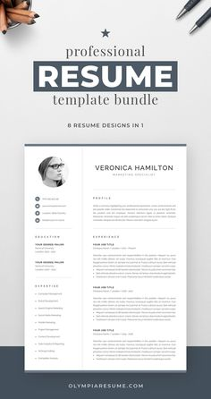 Professional resume template bundle with 8 designs that fit various needs: Clean, modern resume with a neutral look, perfect for any occasion. Compact resume that you can fill with a lot of content. Resume with a monogram for added visual impact. Resume with a photo in case you need it. And more. Build a resume that is informative, visually attractive, easy to navigate, and showcases your skills and experience in an elegant and effective way. One Page Resume Template, Modern Resume Template, Creative Resume Templates, Creative Cv, Cover Letter For Resume, Cover Letter Template, Cover Letters, Resume References, Microsoft Word 2007