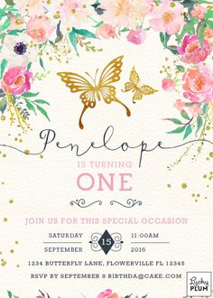 Butterfly Birthday Invitation / Garden Birthday by LuckyPlumStudio