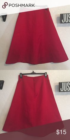 Red Nastygal midi skirt Never worn (too small on me). Bought at a Nastygal pop up shop. Fit and flare midi skirt in red. Nasty Gal Skirts Midi