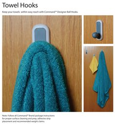 Command(TM) Hooks are a college essential to keep towels dry and up off the floor.