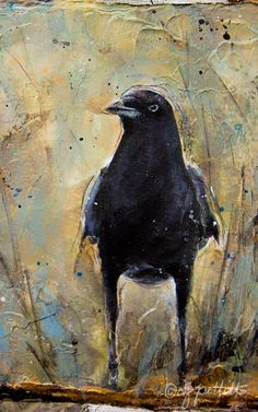 "iheartcrows:"" crow painting (by dj pettitt)"" Crow Art, Raven Art, Bird Art, Crow Painting, Painting & Drawing, Guache, Animal Paintings, Painting Inspiration, Amazing Art"