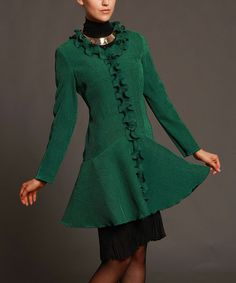 Look what I found on #zulily! Green Ruffle Swing Coat - Women & Plus by Jerry T Fashion #zulilyfinds