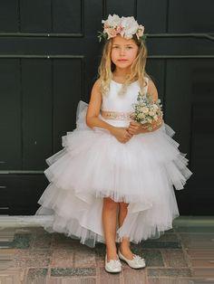 High-Low Tulle Round Neckline Flower Girl Dresses, Popular Little Girl Dresses, Cute Flower Girl Dresses, Tulle Flower Girl, Tulle Flowers, Simple Dresses, Girls Dresses, Prom Dresses, Flower Girls, Flower Girl Dresses Burgundy, Princess Flower