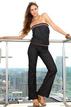 #1015store.com #fashion #style smocked denim strapless jumpsuit-$15.00