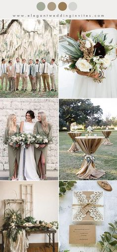 rustic olive green and warm beige fall and winter wedding color ideas #weddingideas